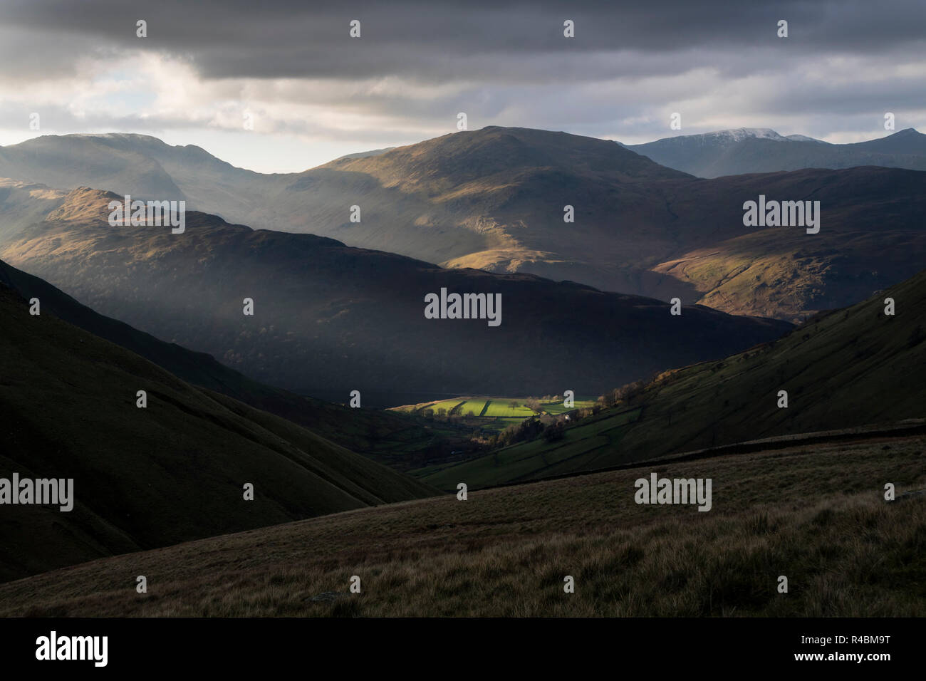Helvellyn, St Sunday Crag and Fairfield from Hayeswater Gill above Hartsop, Lake District, Cumbria, UK - Stock Image