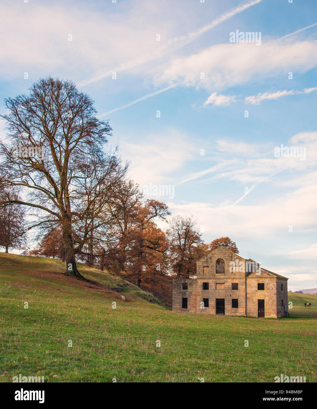 James Paine`s mill , a successful architect of the mid 18th century created the corn mill situated at Chatsworth Park in the peak district England UK. Stock Photo