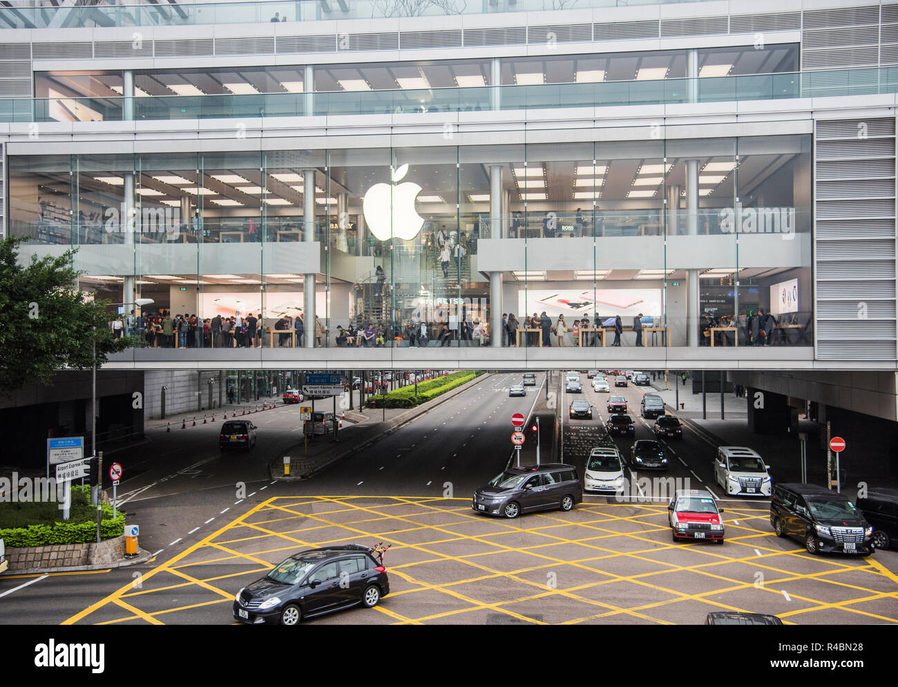 A view of the popular Apple building in the Causway Bay district of HongKong Island China. - Stock Image