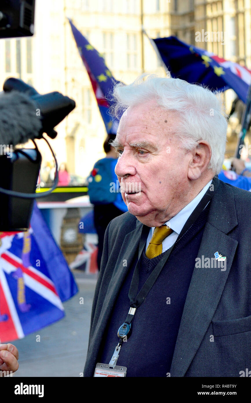 Roger Roberts / Lord Roberts / Baron Roberts of Llandudno - Lib Dem Peer, being interviewed opposite the Houses of Parliament amongst anti-Brexit prot - Stock Image