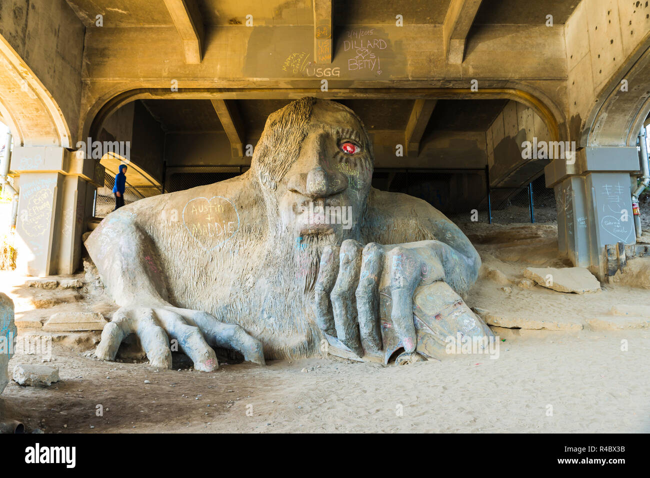Seattle,Washington,USA.02/17/15 : scene of a big sand troll sculpture under the Aurora bridge. - Stock Image