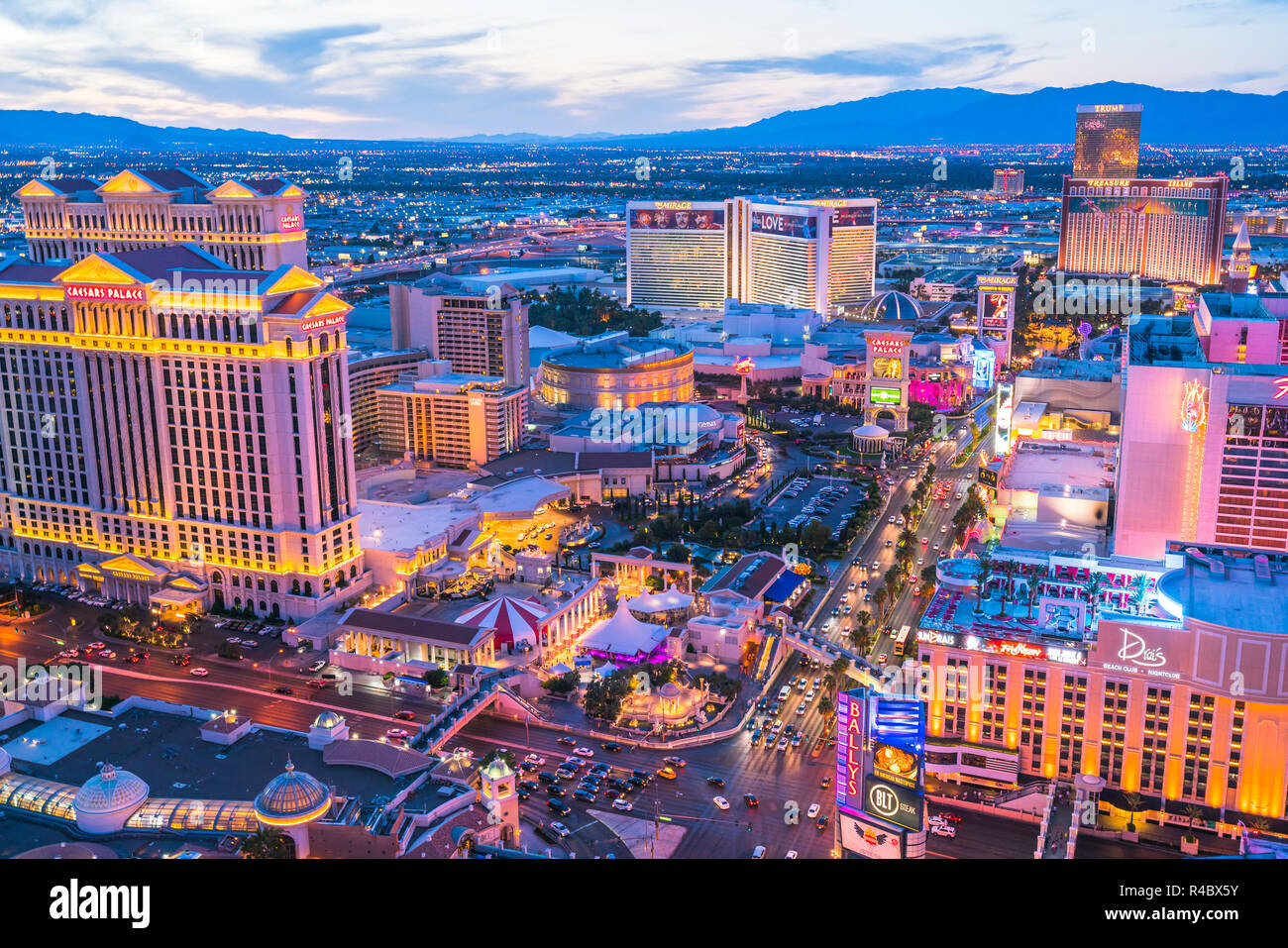 las vegas,nevada,usa. 05-30-17: beautiful las vegas arial view at night. - Stock Image