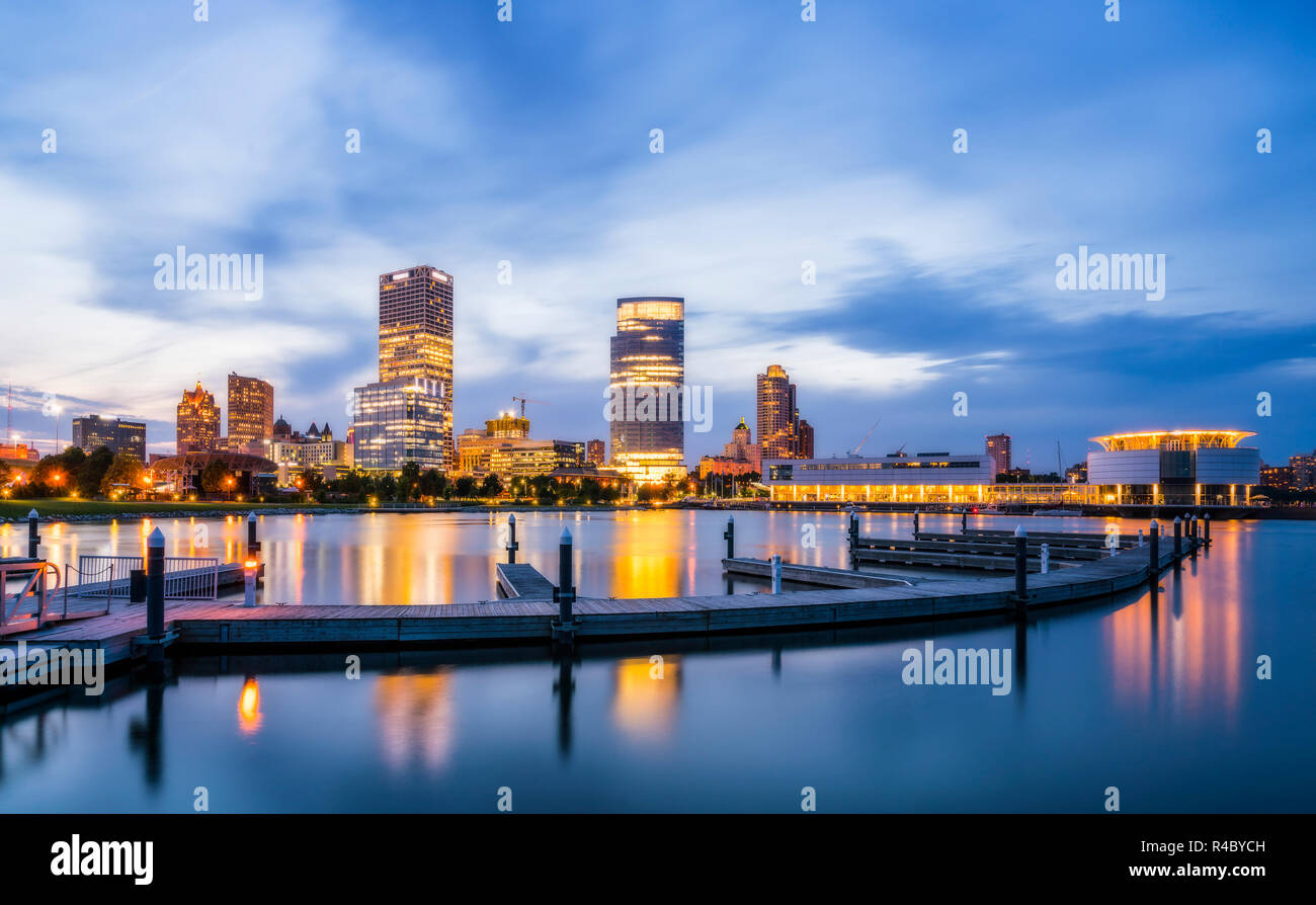 beautiful milwaukee  at night with reflection in water ,wisconsin,usa. - Stock Image
