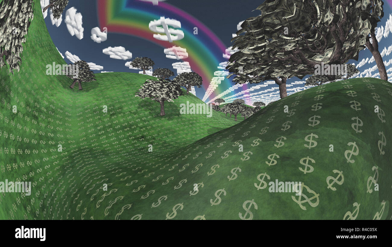 Surreal Digital Art Landscape With Currency Elements Trees