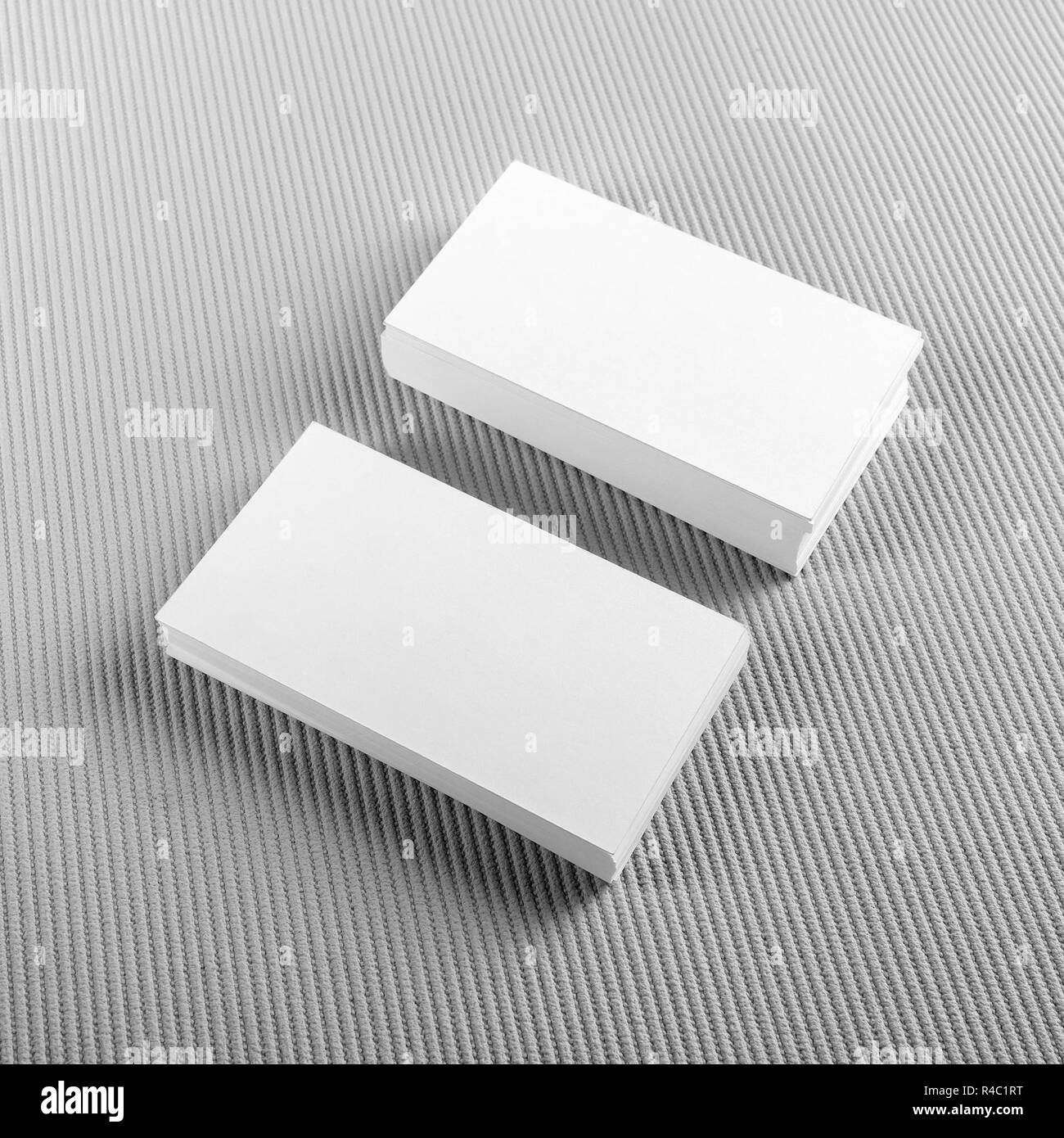 Photo Of Blank Business Cards With Soft Shadows On Gray Background Template For ID