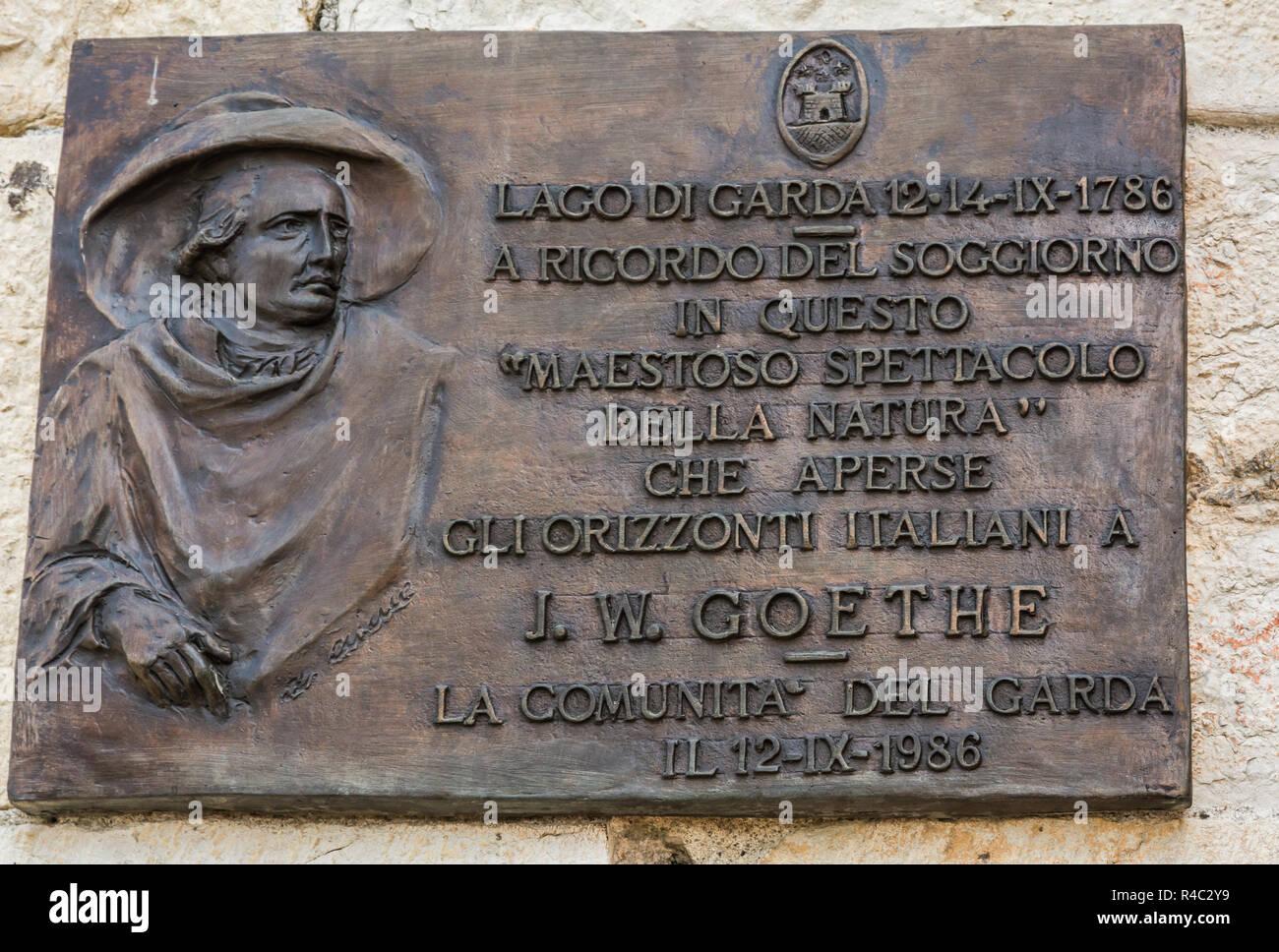 Plate dedicated to Johann Wolfgang von Goethe in Malcesine on Lake Garda in Northern Italy Stock Photo