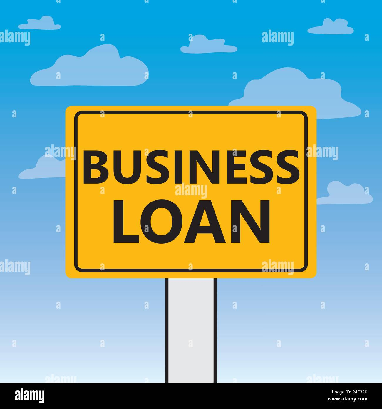 business loan text on a billboard- vector illustration - Stock Image