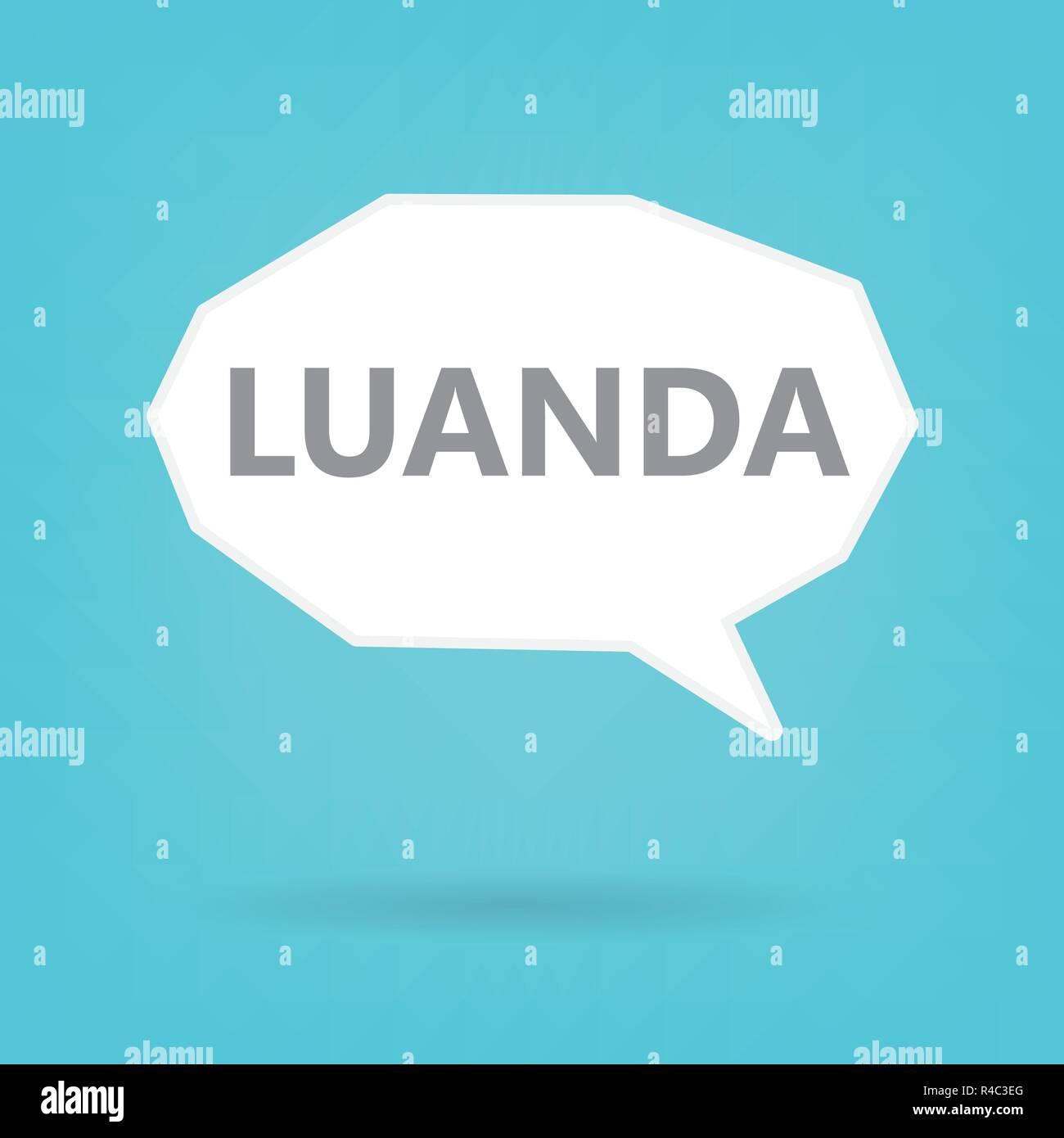 Luanda word on a speech bubble- vector illustration - Stock Vector