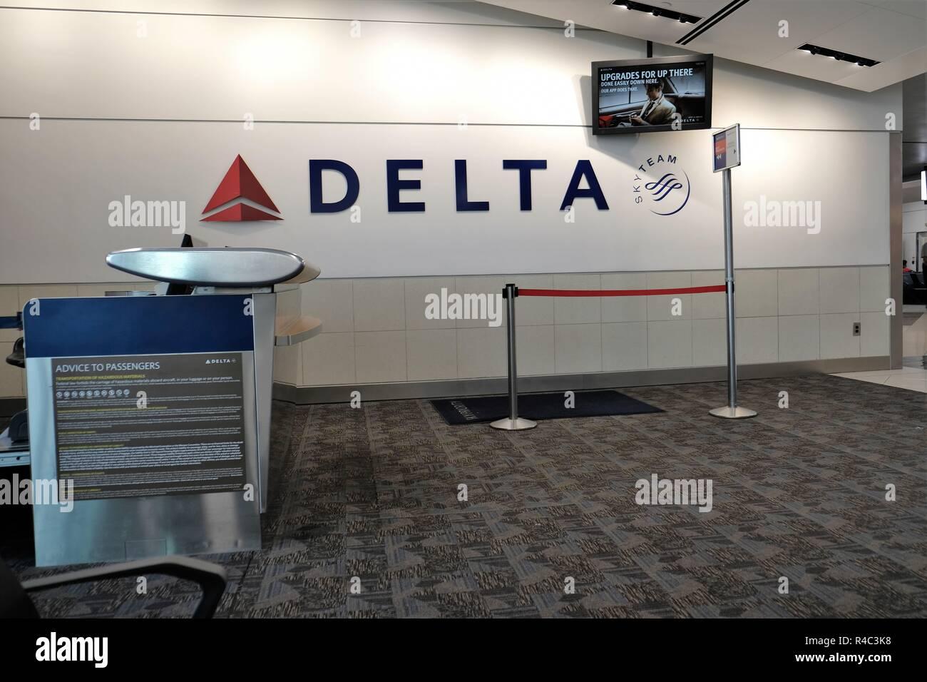 Empty gate area in Hartsfield-Jackson Atlanta International Airport; Atlanta, Georgia, USA. - Stock Image