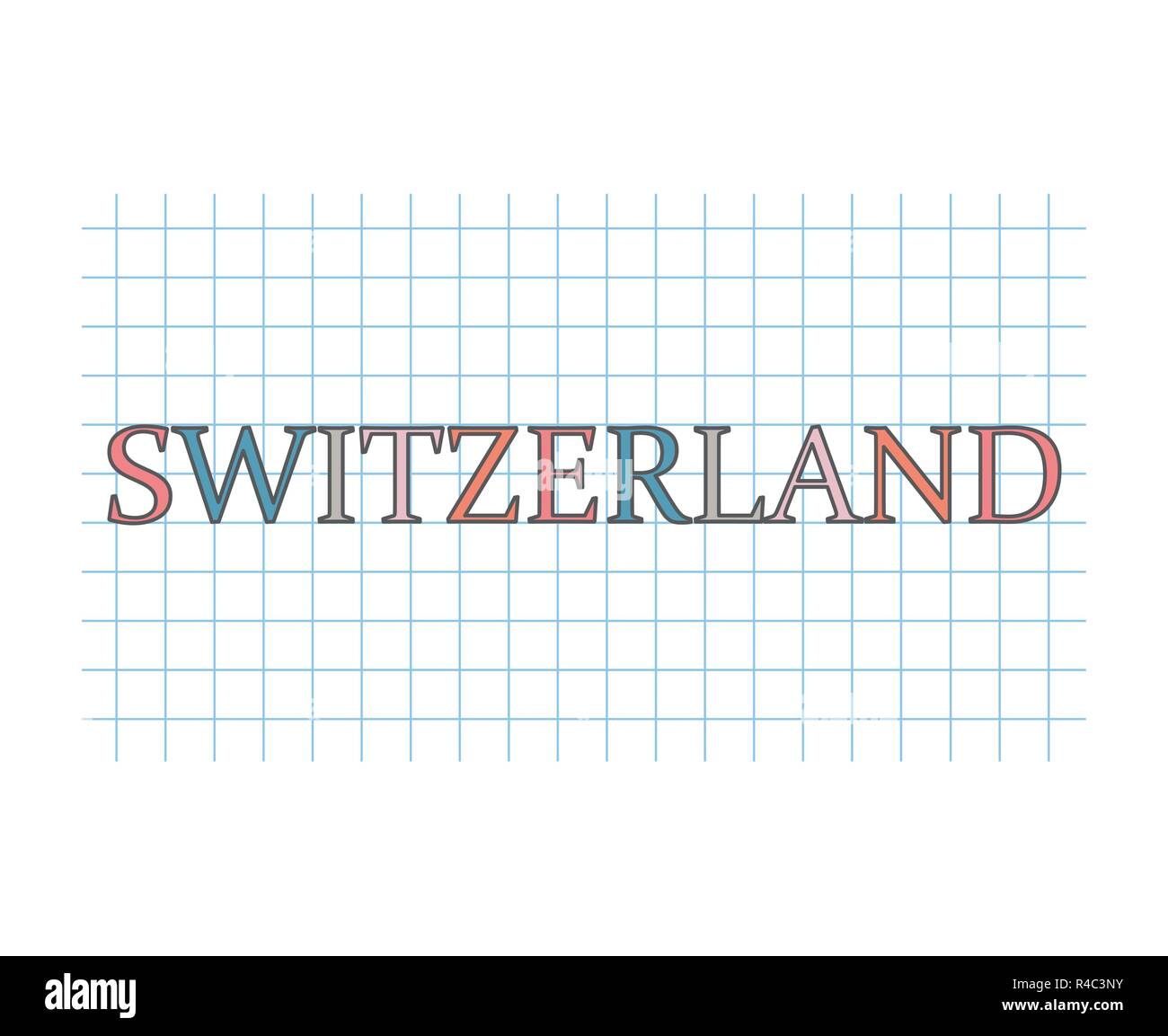switzerland word on checkered paper texture- vector illustration - Stock Vector