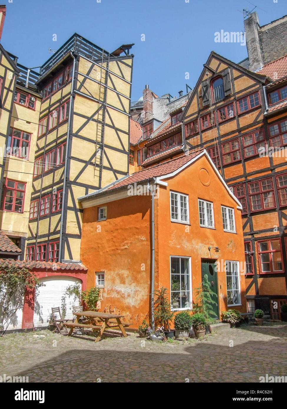 helped timbered houses in copenhagen - Stock Image