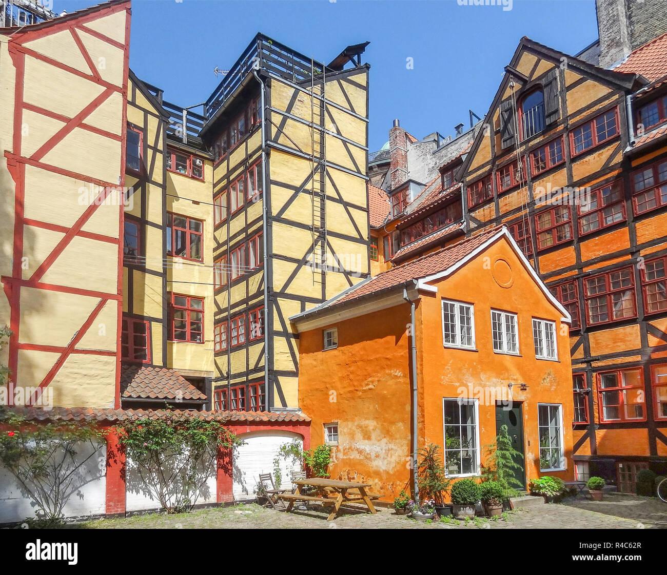 colorful frame houses in copenhagen - Stock Image