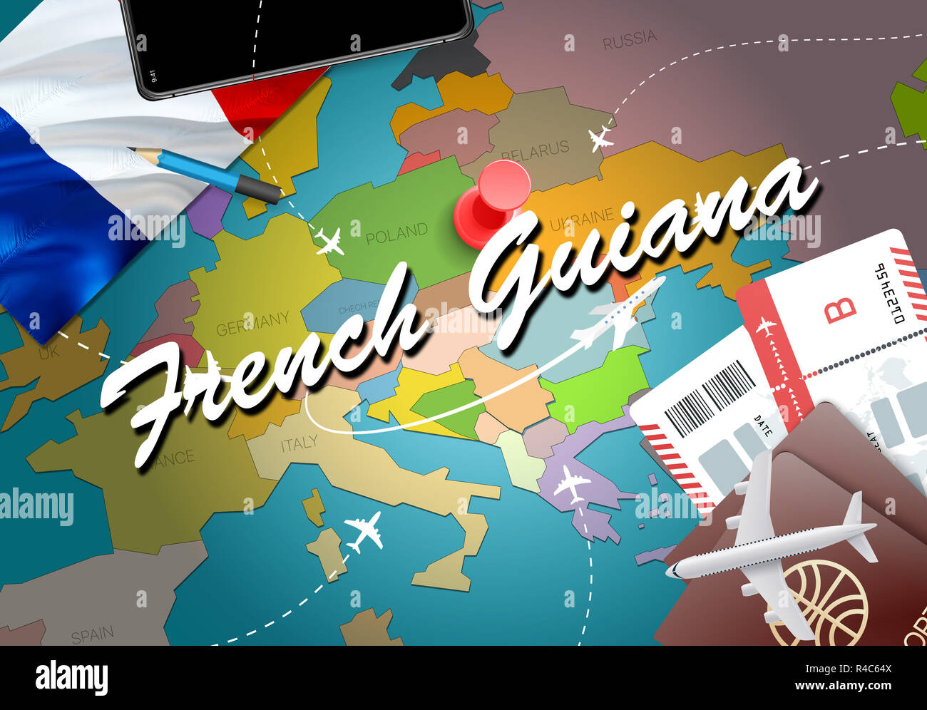 Travel Map Of France.French Guiana City Travel And Tourism Destination Concept France