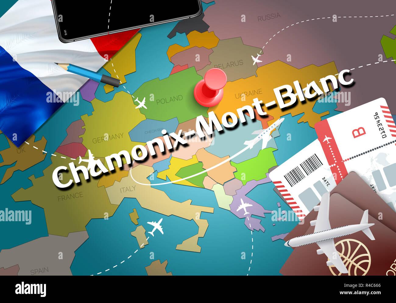 Mont Blanc France Map.Chamonix Mont Blanc City Travel And Tourism Destination Concept