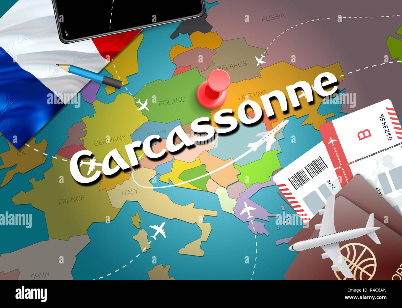 Map Of France Carcassonne.Carcassonne City Travel And Tourism Destination Concept France Flag