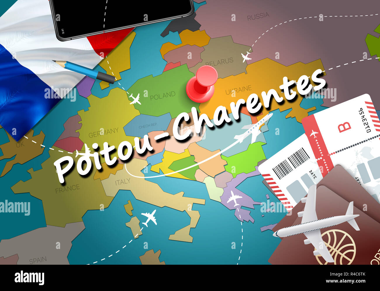 Poitou France Map.Poitou Charentes City Travel And Tourism Destination Concept France