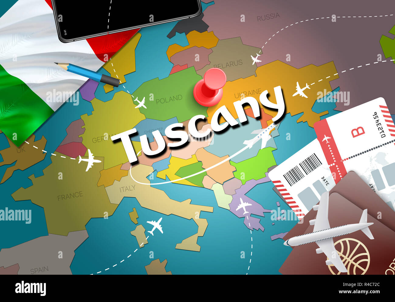 Tuscany city travel and tourism destination concept. Italy flag and ...