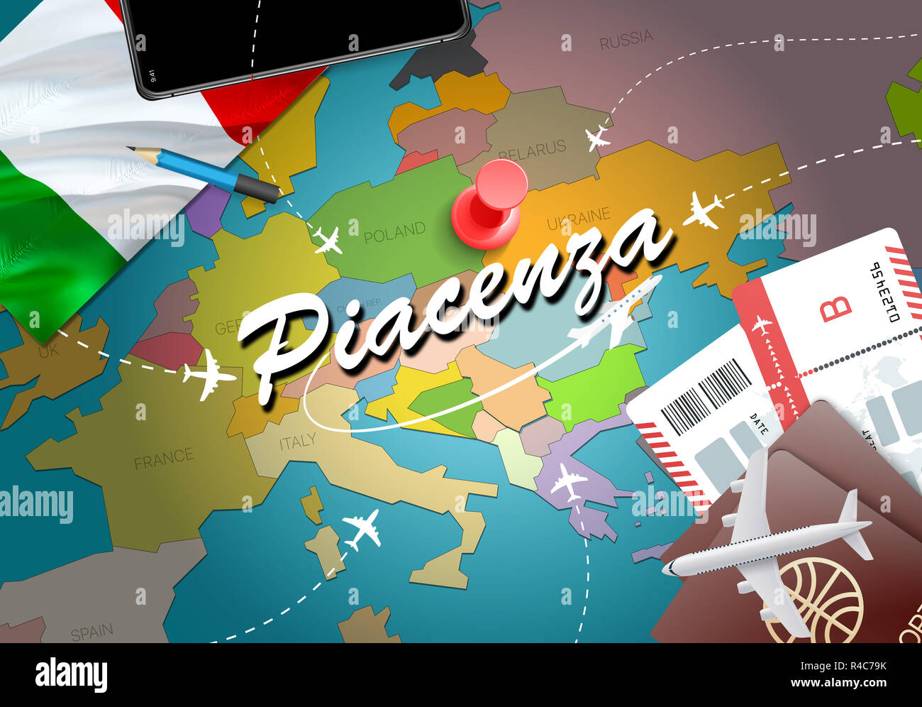 Piacenza City Travel And Tourism Destination Concept Italy Flag And