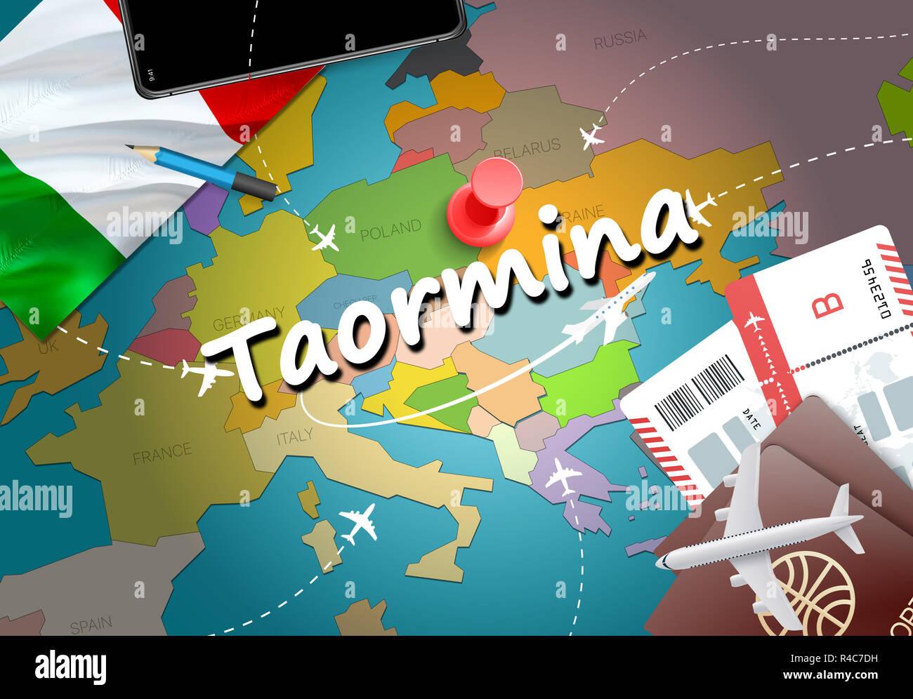 Taormina City Travel And Tourism Destination Concept Italy Flag And