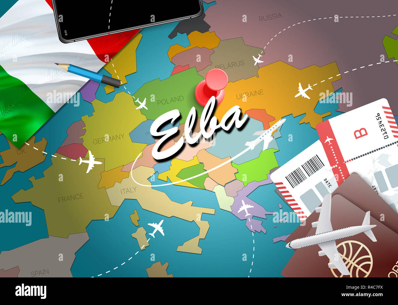 Map Of Germany And Italy With Cities.Elba City Travel And Tourism Destination Concept Italy Flag And