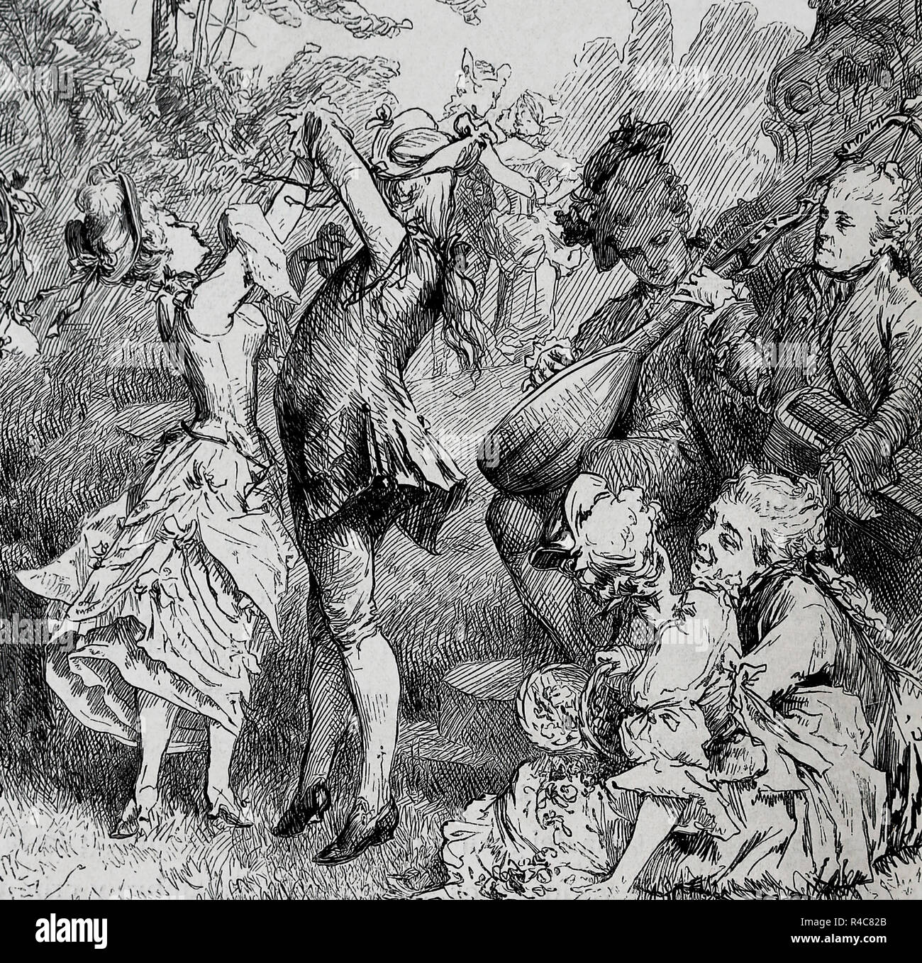 Aristocracy. 18th century. Dance scene. Engraving of Germania, 1882. - Stock Image