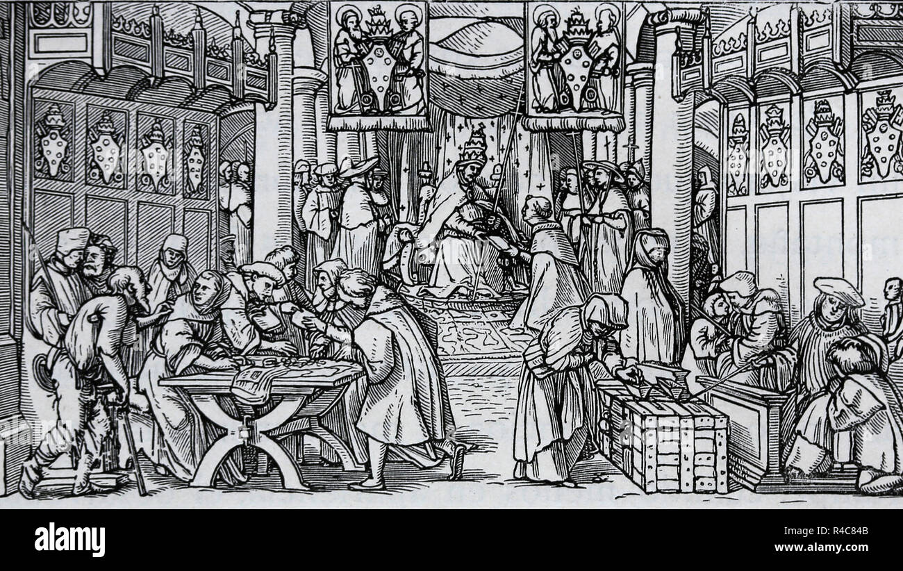 Hans Holbein the Younger (1497-1543). Reformation propaganda. True and false forgiveness, 1529. Sale of indulgences. - Stock Image