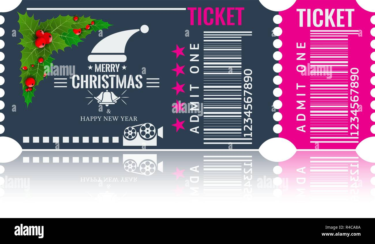 christmas or new year party ticket card design template vector illustraton blue and pink color