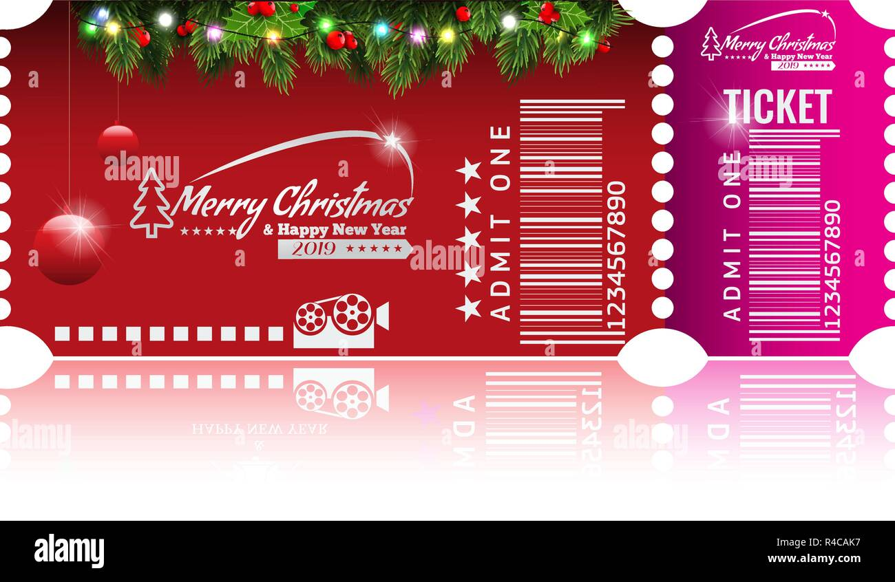 christmas or new year party ticket card design template vector illustraton red and pink color
