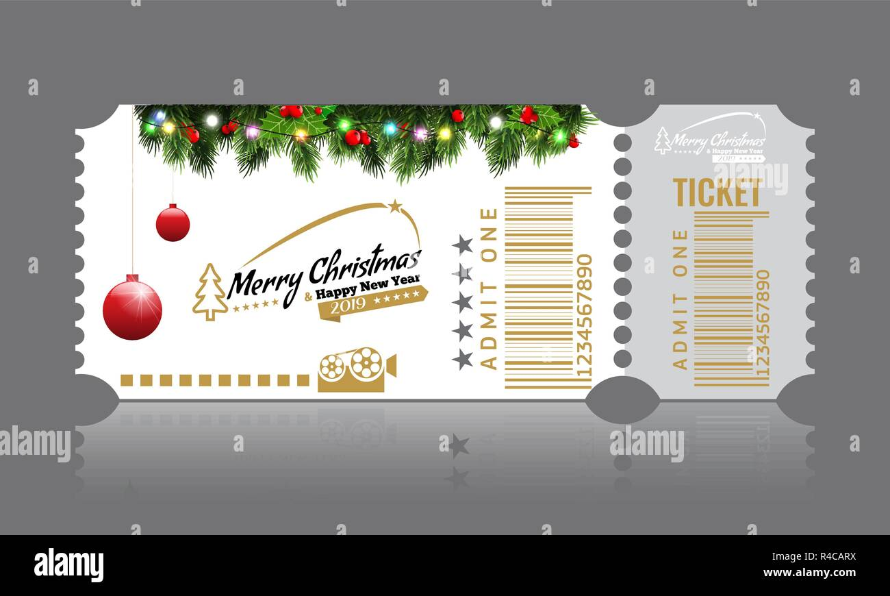 christmas or new year party ticket card design template vector illustraton white color