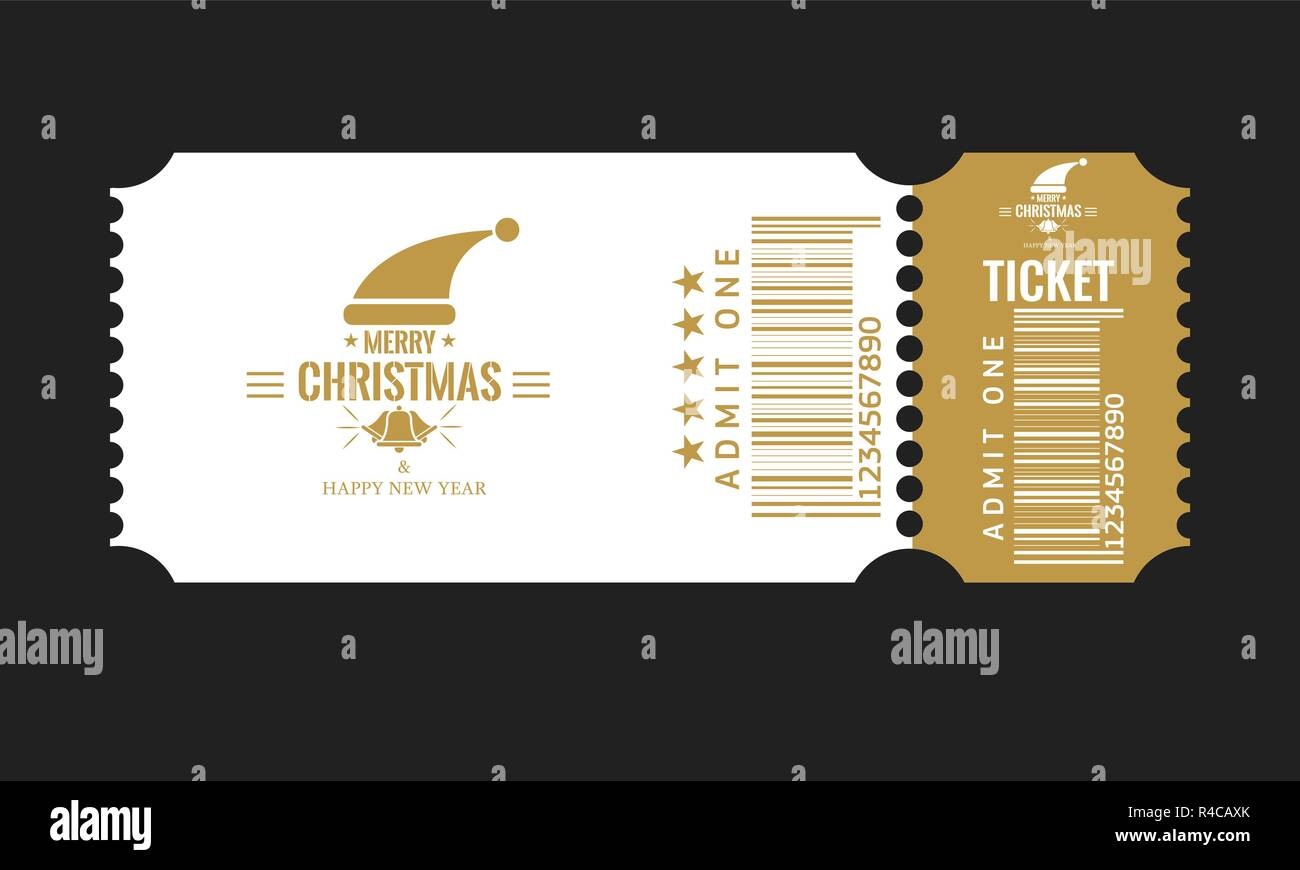 christmas or new year party ticket card design template vector illustraton white and golden color