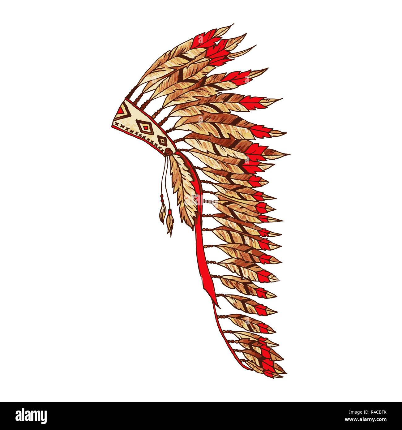 American painted Warbonnet Artwork. Eagle Feathers Hat. Native Indian Colorful Accessory. Headdress Realistic Drawing. Thanksgiving and Halloween Costume Item. Red and Beige Emblem, Isolated Element. - Stock Image