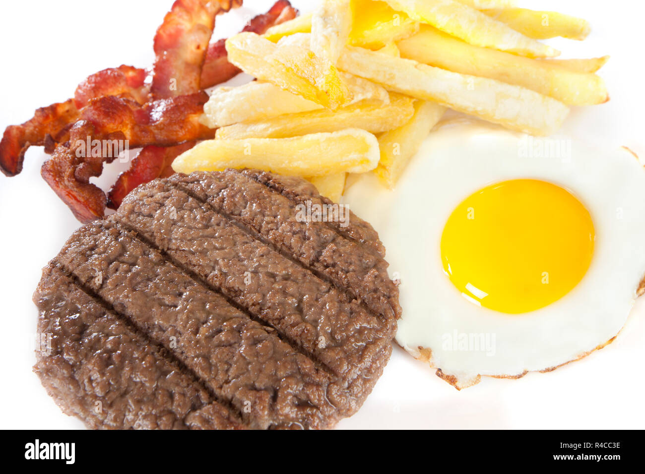 close up Junk food with high levels of calories and cholesterol - Stock Image