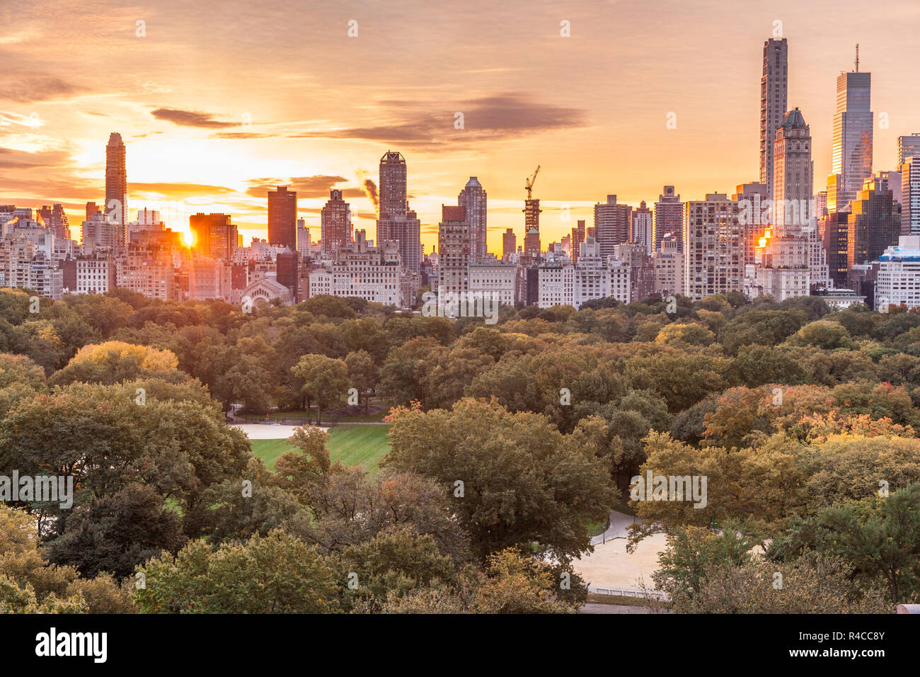 Sunrise Over Central Park New York City United States Of America Stock Photo Alamy