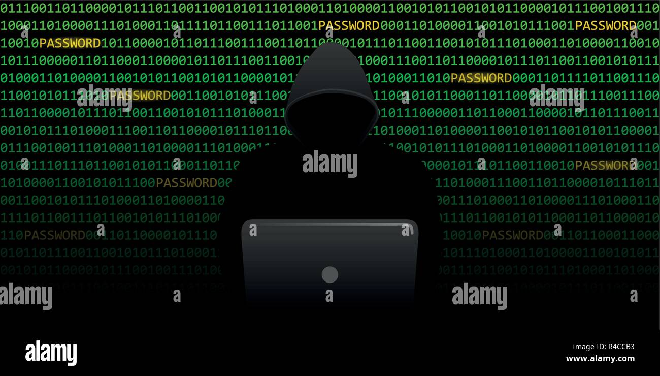 hacker is looking for passwords cybercrime with binary code background vector illustration EPS10 - Stock Image