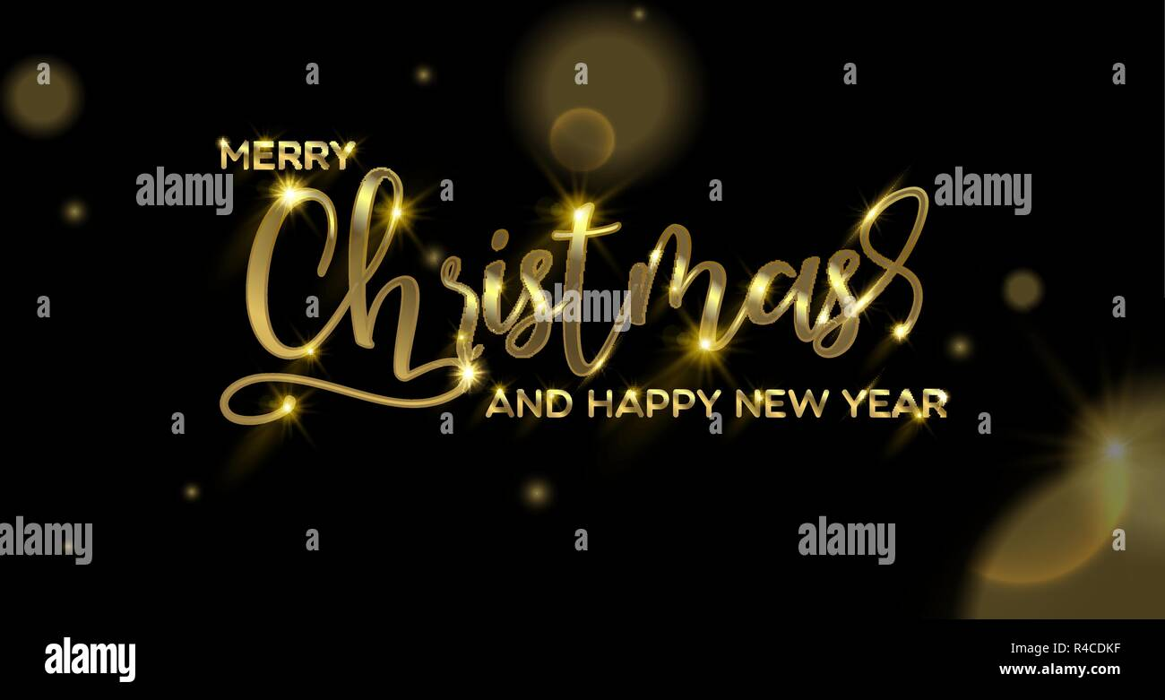 merry christmas happy new year calligraphic greeting card or party invitation illustration golden typography text quote with festive gold lights ele