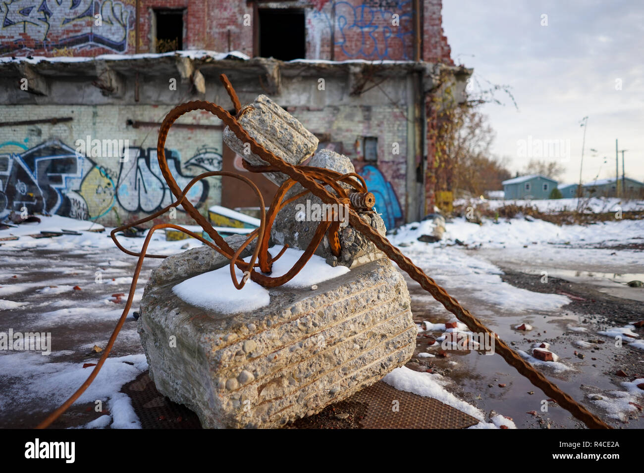 Abandoned factory abstract and street art in the rust belt of the us during golden hour - Stock Image