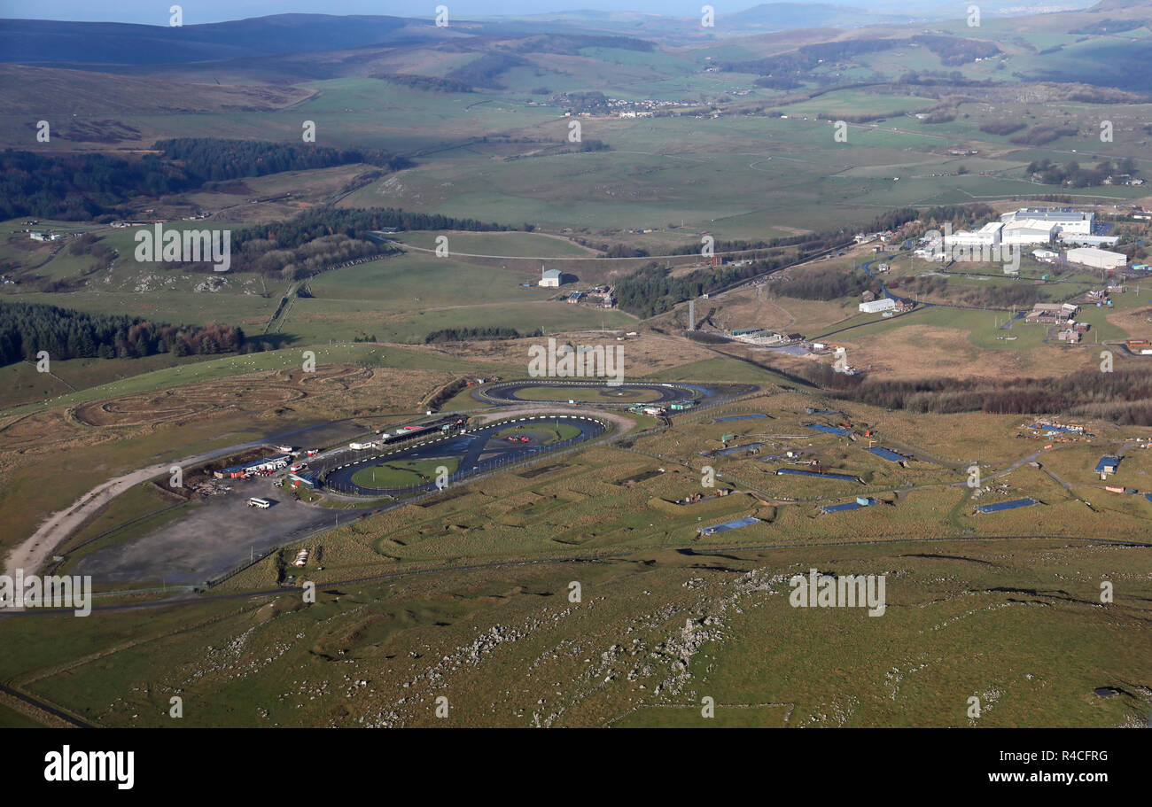 aerial view of the Buxton Raceway & Hitman Speedway tracks and also Health & Safety Laboratory and testing site near Buxton, Derbyshire, UK - Stock Image