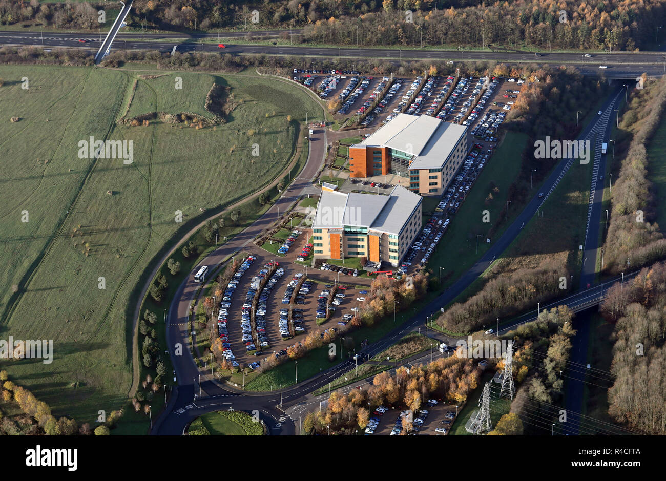 aerial view of two office buildings (including Lowell Financial Ltd), on Savannah Way, Leeds Valley Park, Leeds 10, West Yorkshire - Stock Image