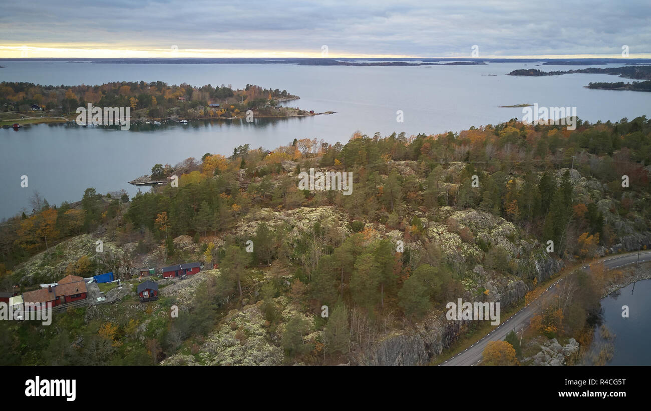 Beautiful view of the classic Swedish landscape from above. - Stock Image