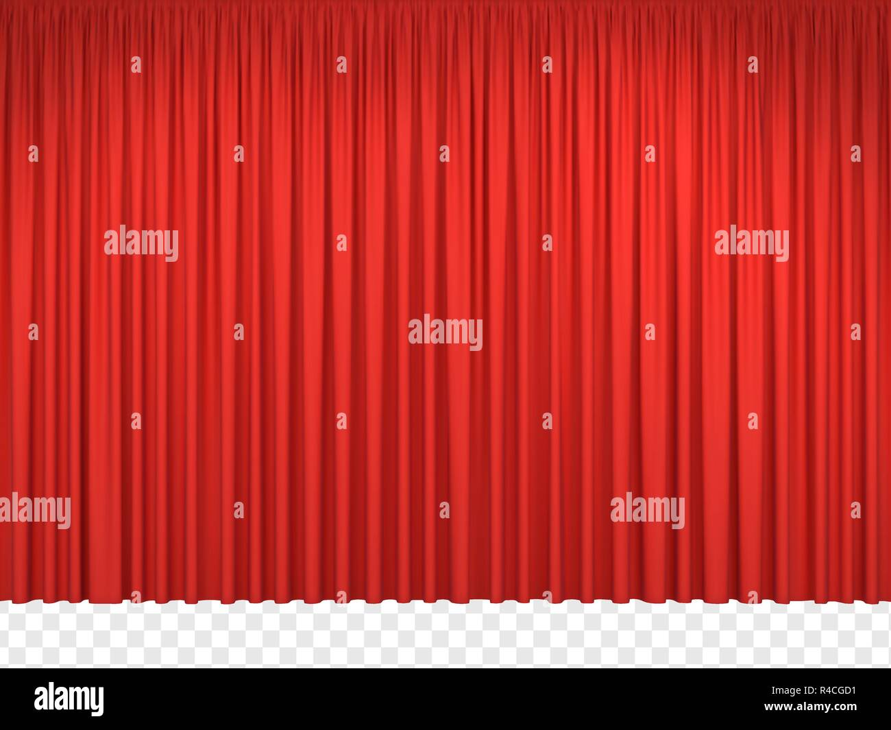 Red stage curtains. Realistic closed theatrical cinema drapes for interior performance event on theatrical stage or in concert hall. Vector illustration - Stock Vector