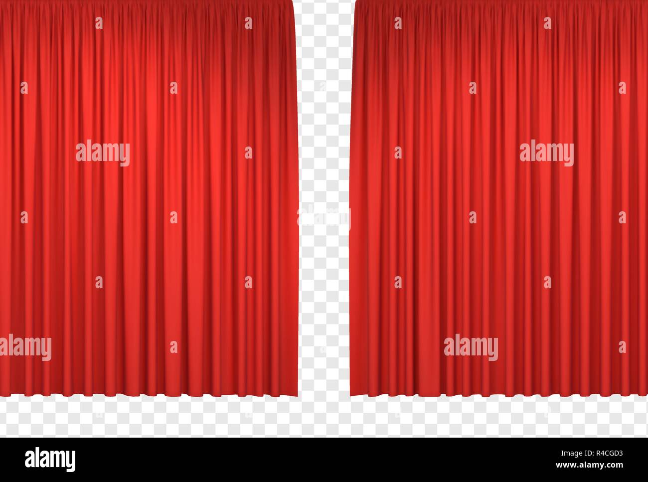 Red stage curtains. Realistic open theatrical cinema drapes for interior performance event on theatrical stage or in concert hall. Vector illustration - Stock Vector