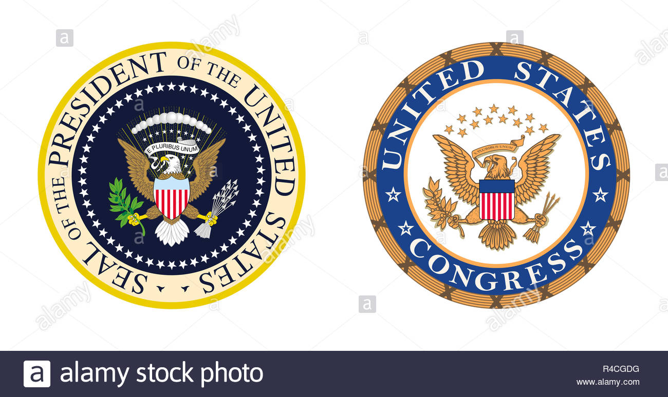 United States Politics - Presidential and Congress logo symbol - Stock Image