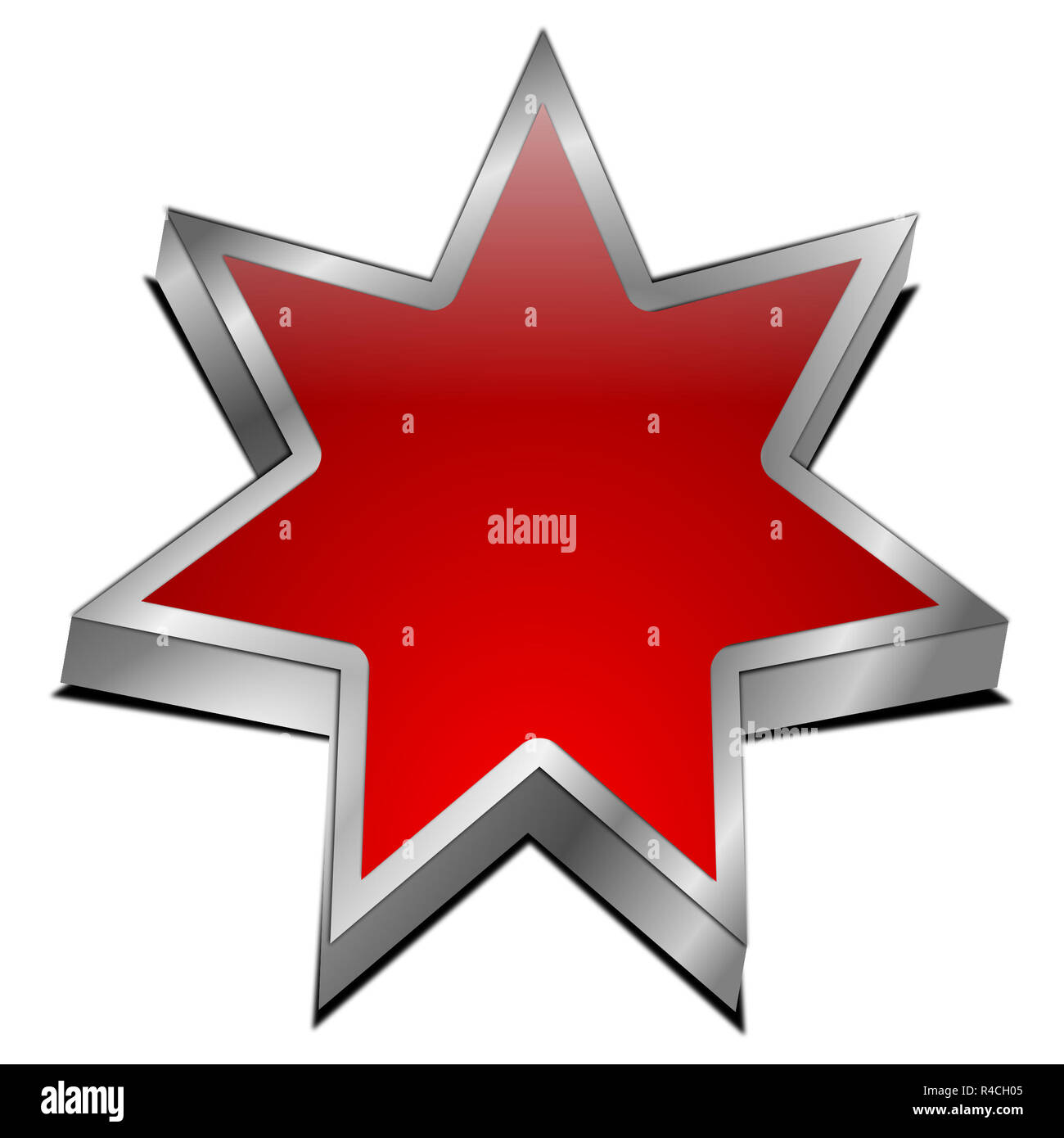 blank red Star button - 3d illustration - Stock Image