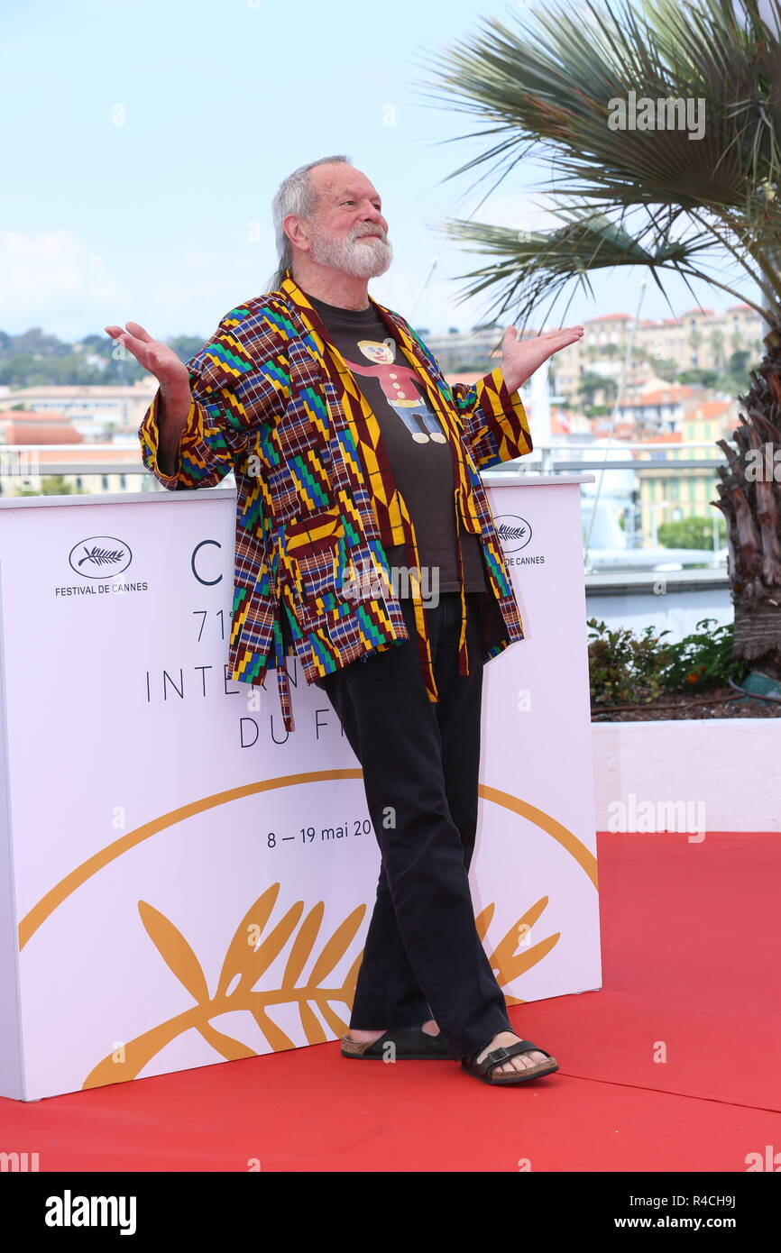 CANNES, FRANCE – MAY 19, 2018: Terry Gilliam at the 'The Man Who Killed Don Quixote' photocall during the 71st Cannes Film Festival in Cannes, France - Stock Image