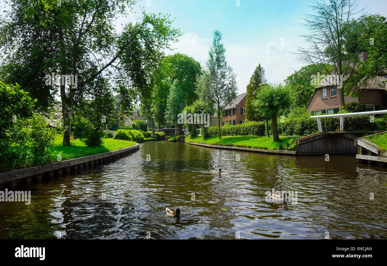 Giethoorn in the Netherlands Holland - Giethoorn in den Niederlanden - Stock Image