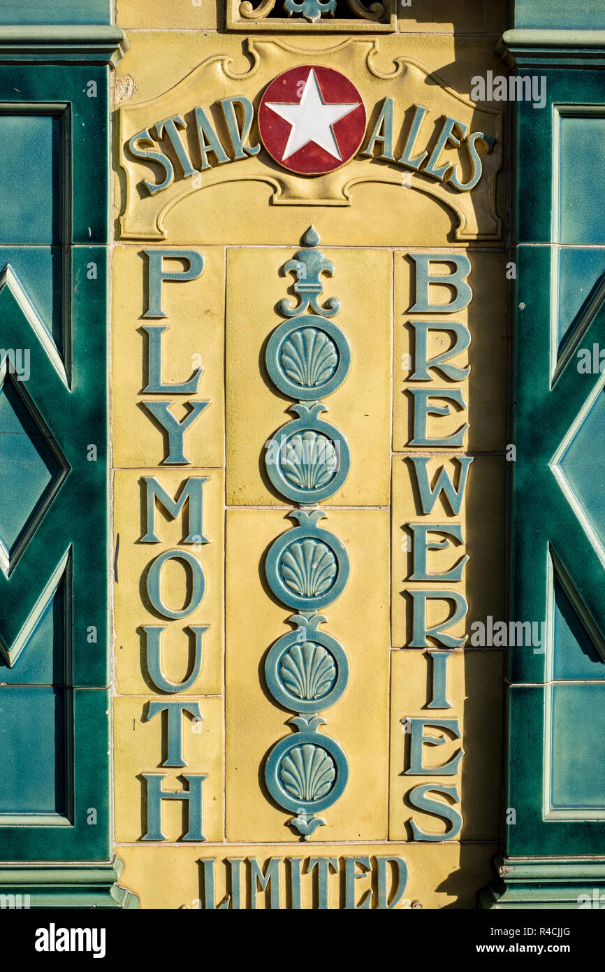 'Star Ales Plymouth Breweries' old tiled sign outside the Dolphin Pub in Dartmouth, Devon - Stock Image