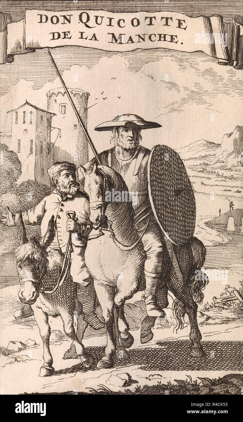 Title page of a 1696 French edition of  Don Quixote de la Mancha by Miguel de Cervantes showing Don Quixote on horseback followed by his servant Sancho Panza riding a donkey. - Stock Image