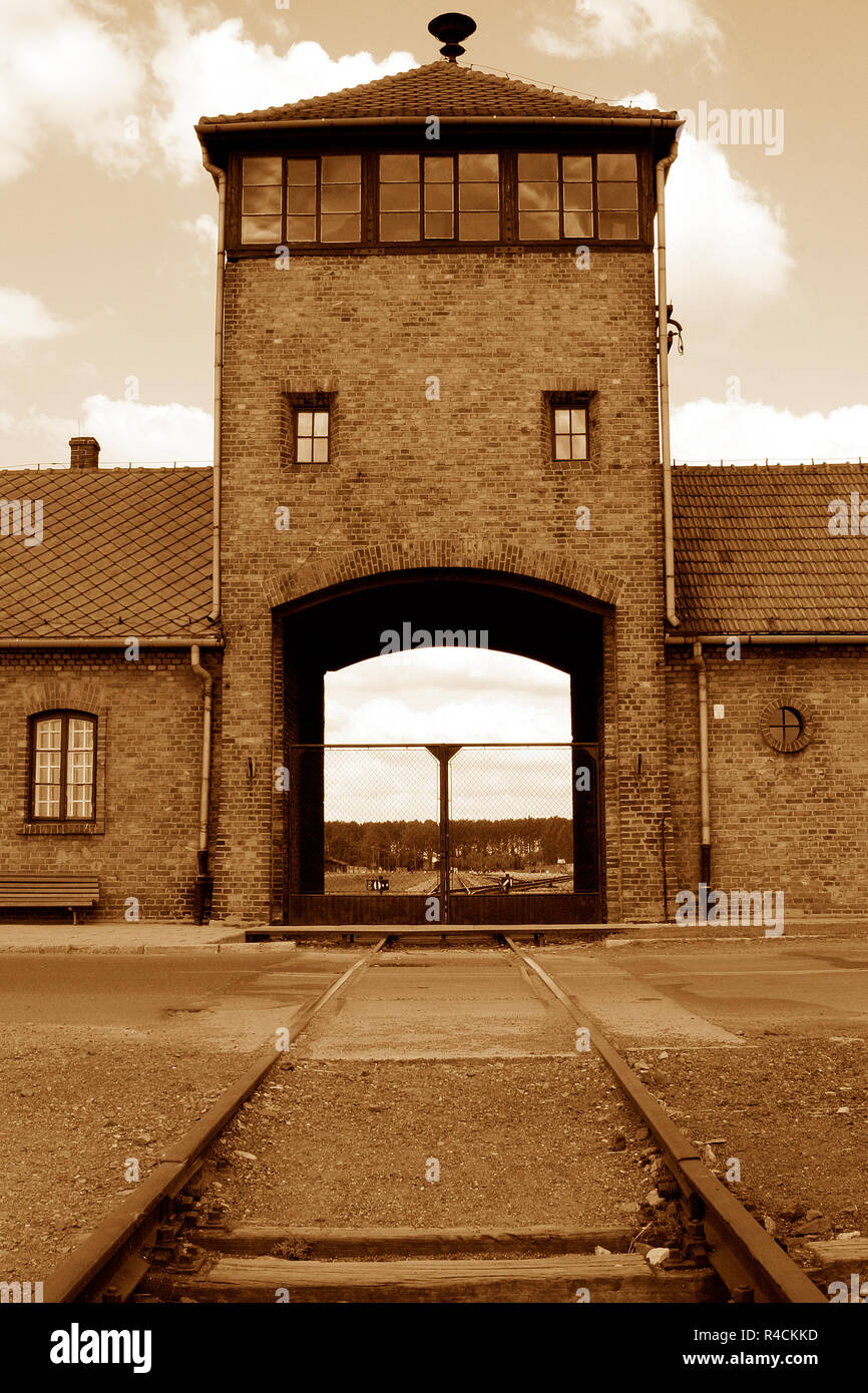 the security tower at the entrance to Auschwitz Birkenau concentration camp - Stock Image