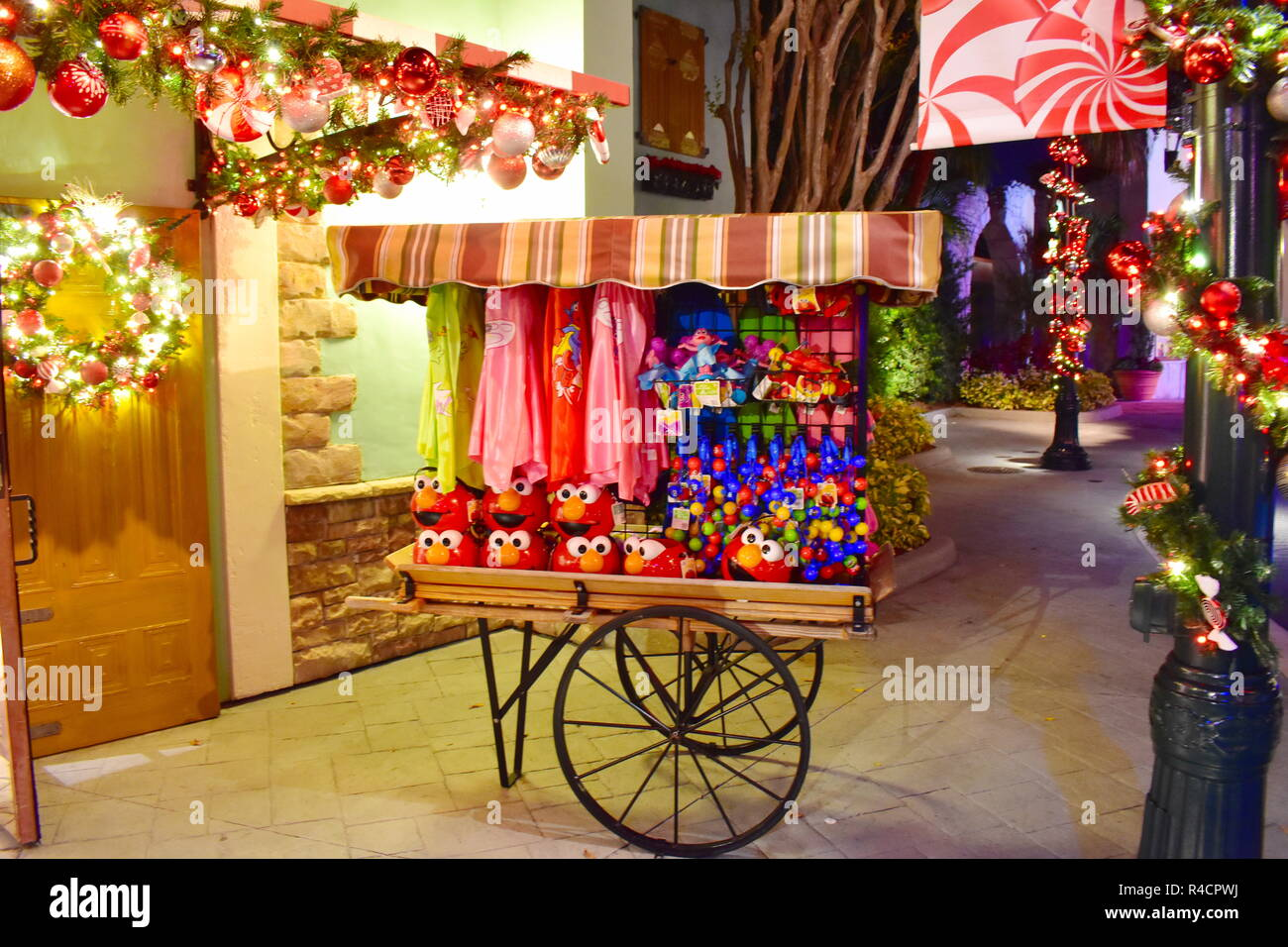 Orlando, Florida. November 19, 2018. European Style Car on Christmas Market background  in International Drive area. Stock Photo