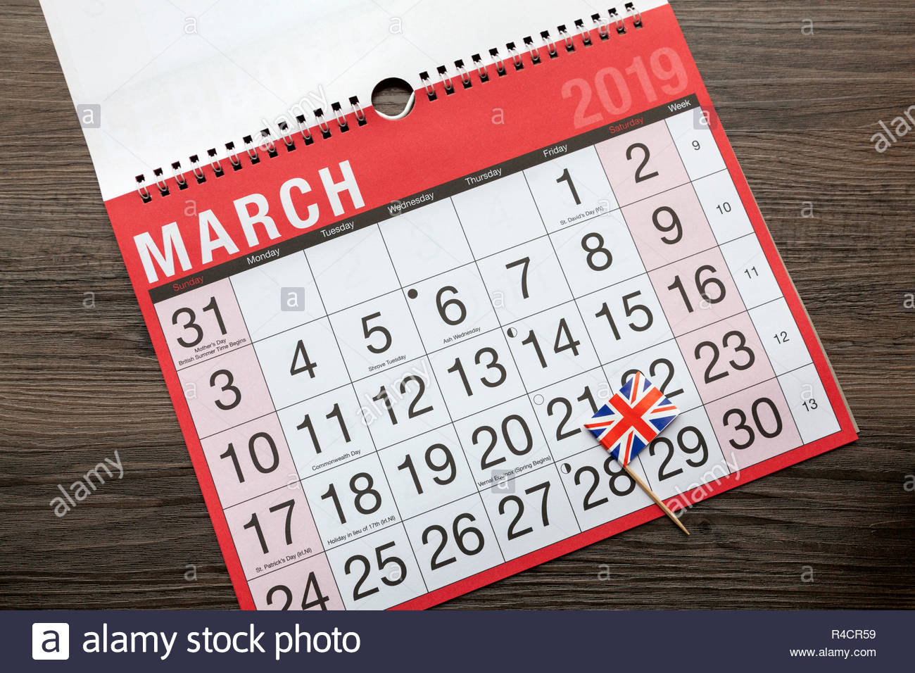 Calendar page showing a Union Jack Flag against 29th March 2019 - Brexit Concept - Stock Image